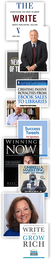 The write way book cover, Jack Canfield sitting, creating passive royalties from ebook sales to libraries book cover, Jack canfield in front of books, success tweets book cover, winning now book cover, umbrella marketing book cover, amy collins headshot, write and grow rich book cover